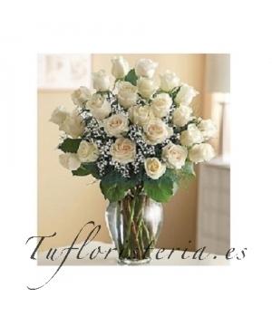 Ramo 24 Rosas Blancas Floristeriaaloees - Imagenes-de-ramos-de-rosas-blancas